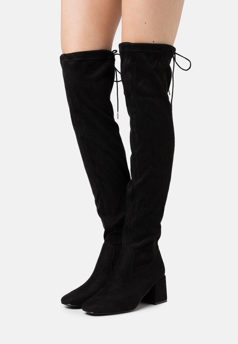 New Look - CANBERRA STRETCH BLOCK HEEL - Cuissardes - black