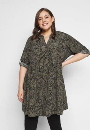 FLORAL BUTTON THROUGH TUNIC - Bluser - khaki