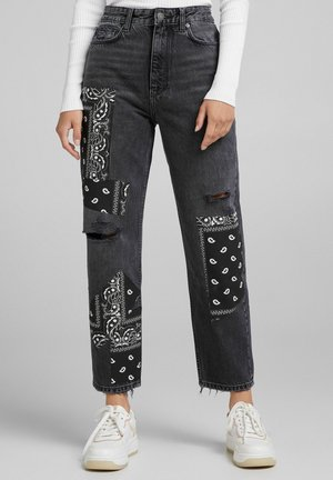 WITH PATCHES - Straight leg jeans - black