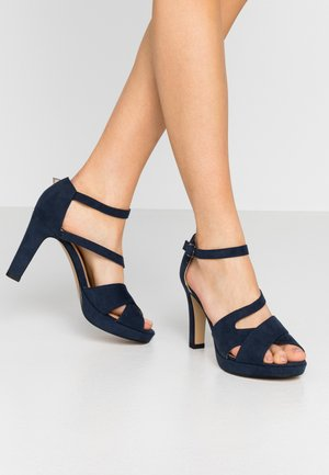 High heeled sandals - navy