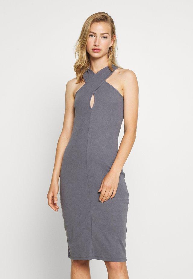 WRAP NECKLINE DRESS - Jerseykleid - gray