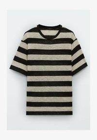 Massimo Dutti - GESTREIFTES SHIRT AUS REINER - Print T-shirt - black - 3