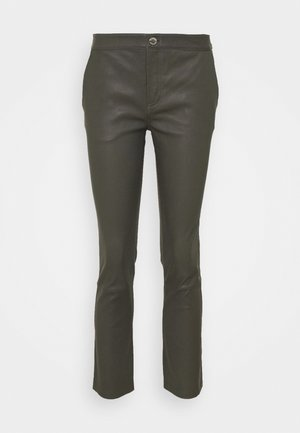 LEYA - Leather trousers - understated black