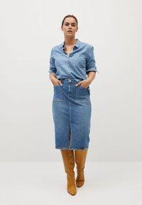 Violeta by Mango - GIRALDA - Pencil skirt - mittelblau - 1