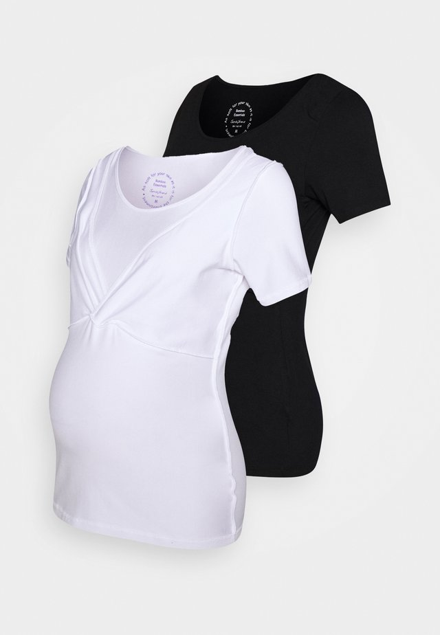 LAINA 2 PACK - T-shirt basic - black/white