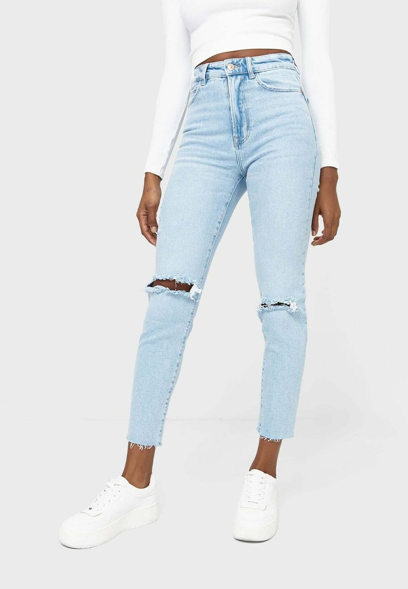 Stradivarius - MOM - Jeans slim fit - mottled light blue