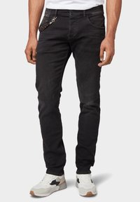 TOM TAILOR - TROY - Slim fit jeans - black stone wash denim - 0