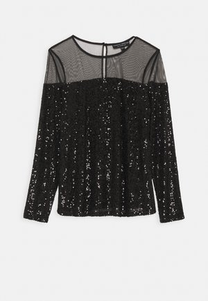 SEQUIN LONG SLEEVE TOP - Blouse - black