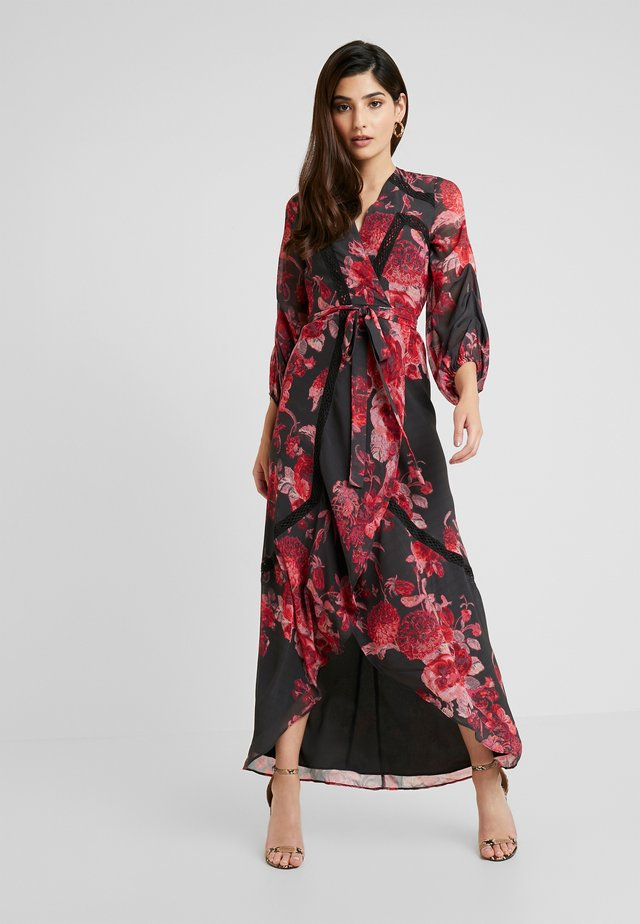 WRAP MAXI DRESS WITH TRIM DETAILS - Galajurk - anthrazit/red