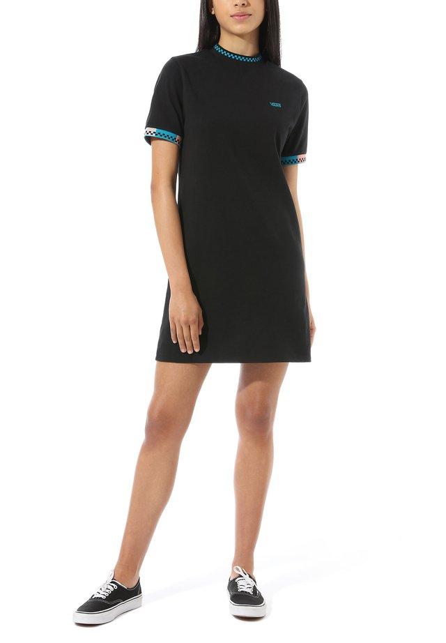 WM HI ROLLER TRI CHECK DRESS - Jerseyjurk - black