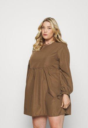 TIE CUFF SMOCK DRESS - Day dress - khaki