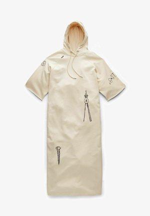 LONG PRINTED HOODED - Korte jurk - ecru