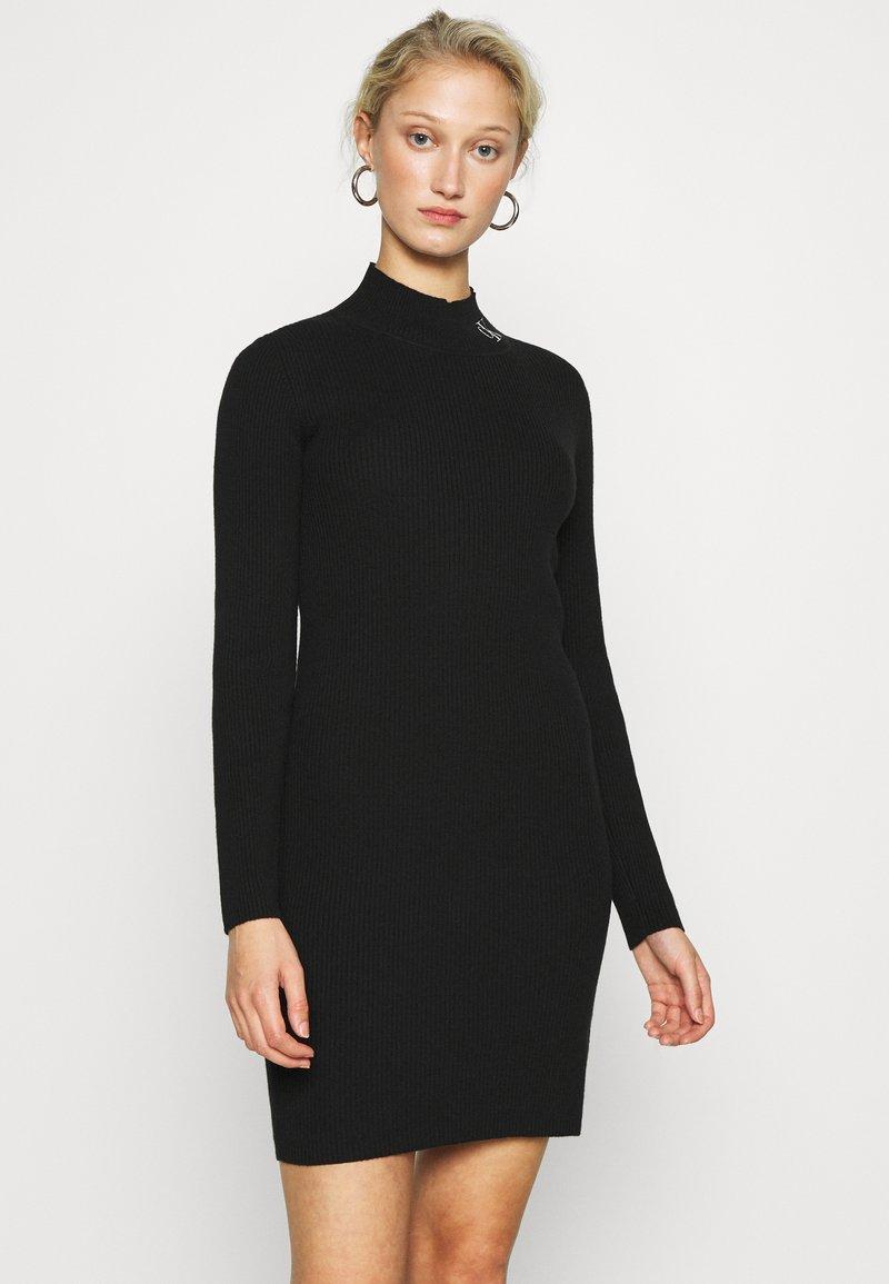 Calvin Klein Jeans - ROLL NECK DRESS - Jumper dress - black