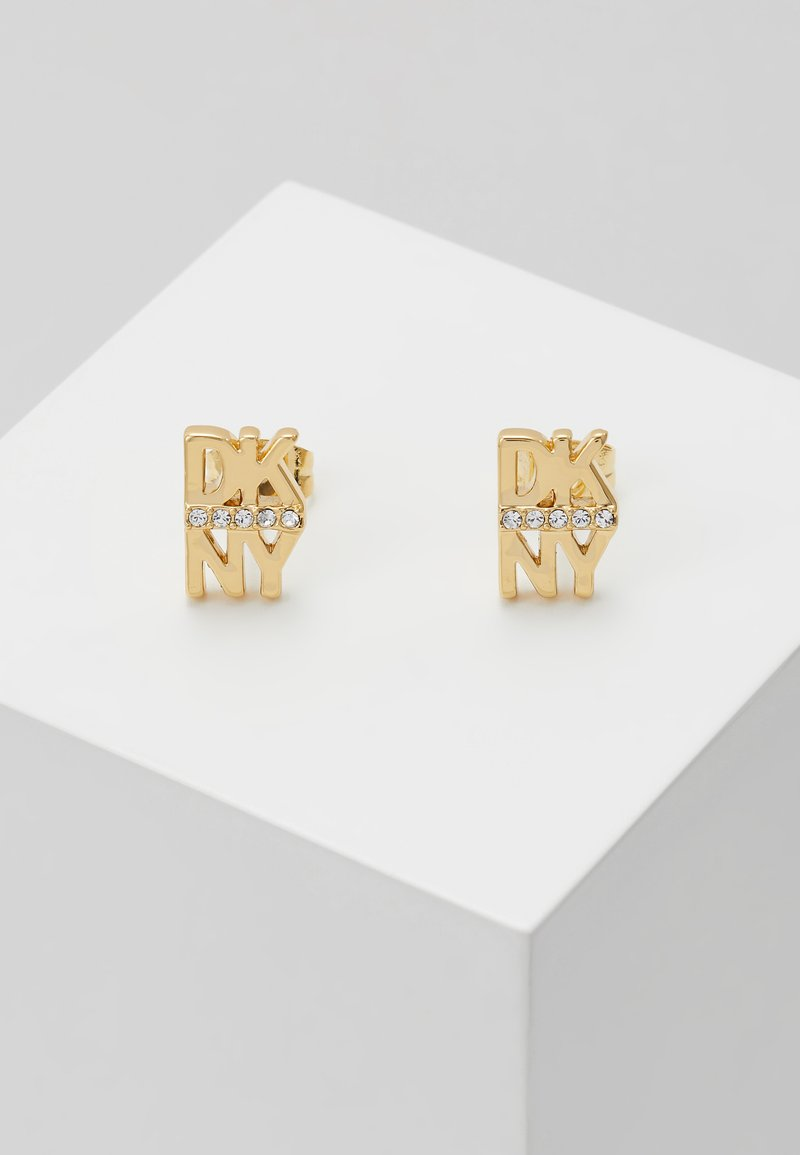 DKNY - STACKED PAVE LOGO STUD - Earrings - crystal/gold-coloured