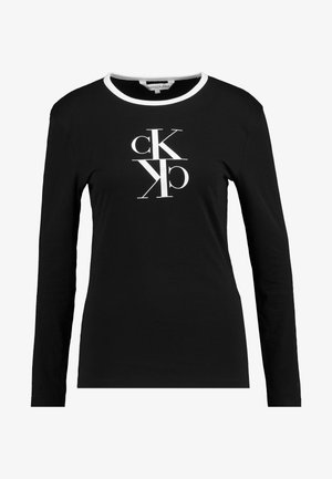 MIRRORED MONOGRAM RINGER - Long sleeved top - black