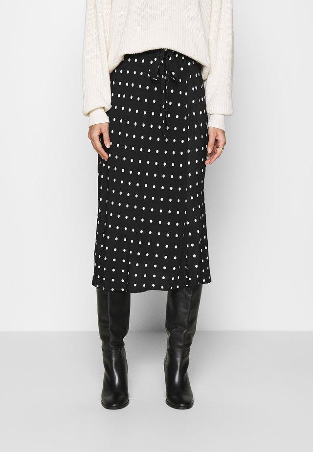 SIDE TIE BIAS MIDI SKIRT - A-line skirt - black