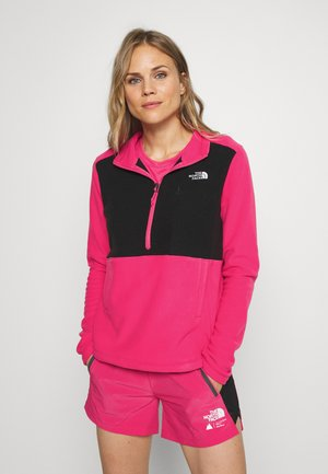 WOMENS BLOCKED - Fleece jumper - pink/black