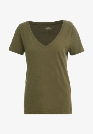 VINTAGE V NECK TEE - Basic T-shirt - frosty olive