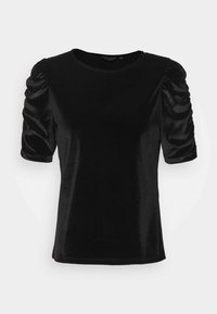 Dorothy Perkins - RUCHE SLEEVE TEE - Basic T-shirt - black - 4