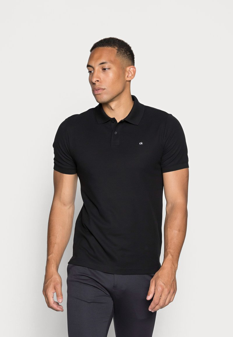 Calvin Klein - REFINED CHEST LOGO - Polo shirt - perfect black