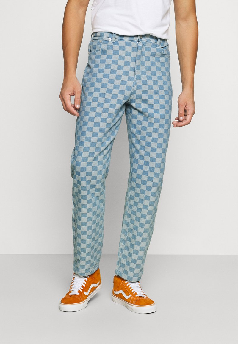 Vintage Supply - CHECKERBOARD WIDE LEG - Relaxed fit jeans - blue