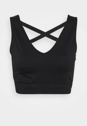 SEAMLESS CAGE BACK V NECK BRA - Light support sports bra - black