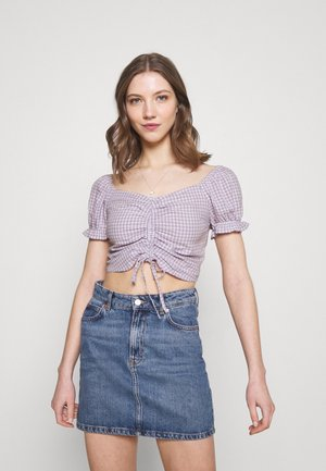 CINCH TIE - Blouse - white/purple