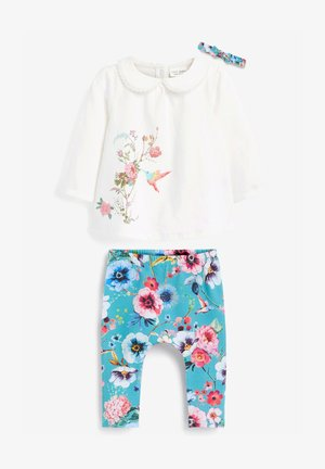 3 PIECE FLORAL SET - Long sleeved top - white