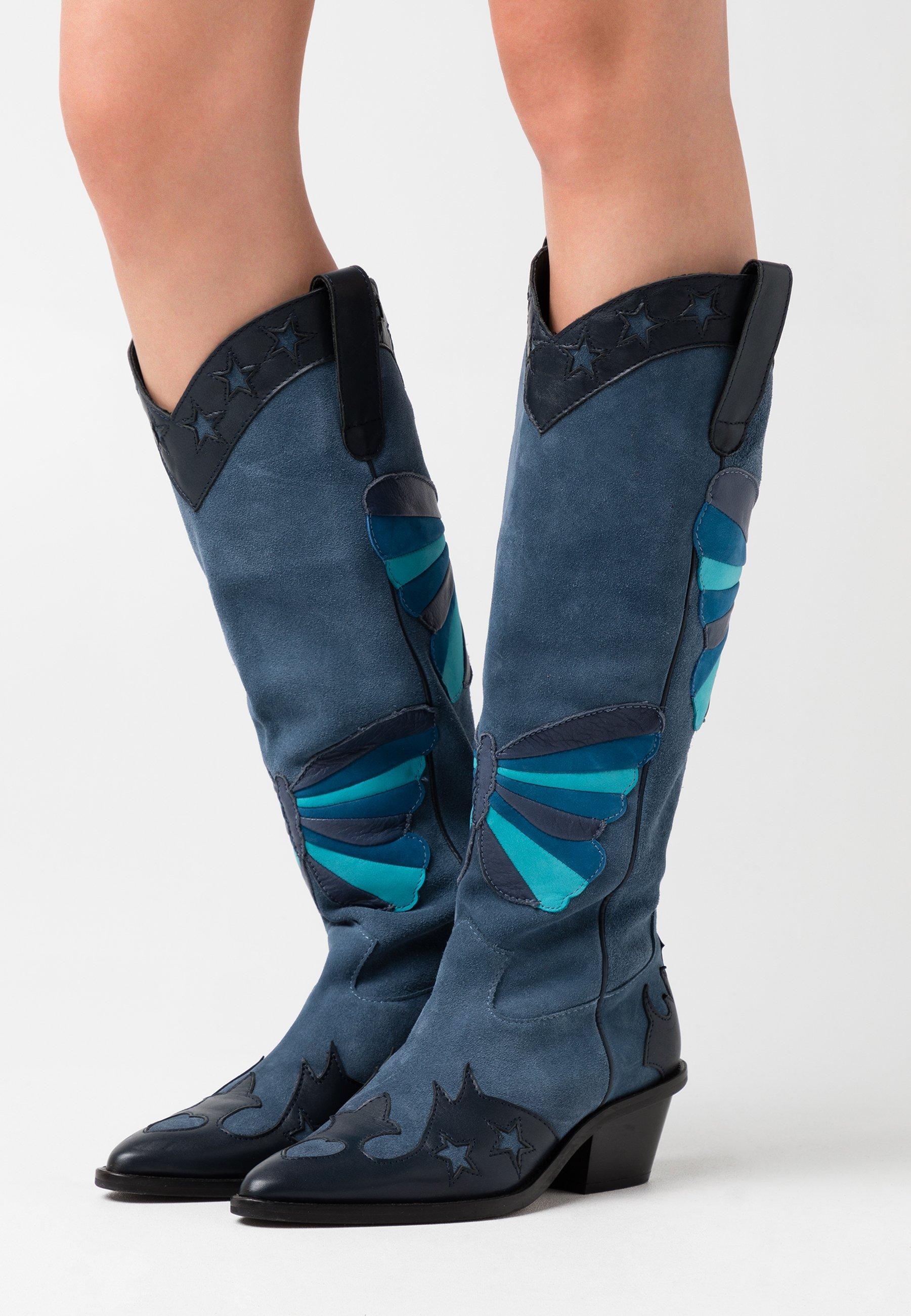 Fabienne Chapot Holly Knee High Butterfly - Cowboystøvler Dusty Blue/blå