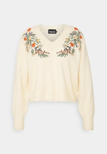PCFLOWER V NECK EMBROIDERY - Neule - flower embroidery