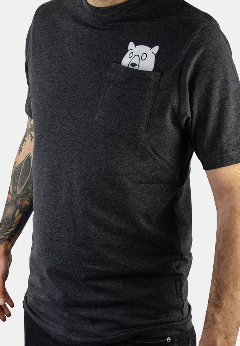 FORSBERG - MIT BRUSTTASCHE  - Print T-shirt - anthrazit melange