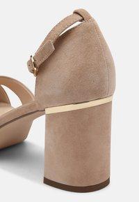 Anna Field Wide Fit - LEATHER - Korkeakorkoiset sandaalit - beige - 5
