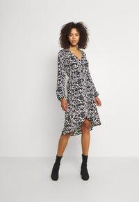 JDY - JDYROXANNE WRAP DRESS - Day dress - white/black - 0