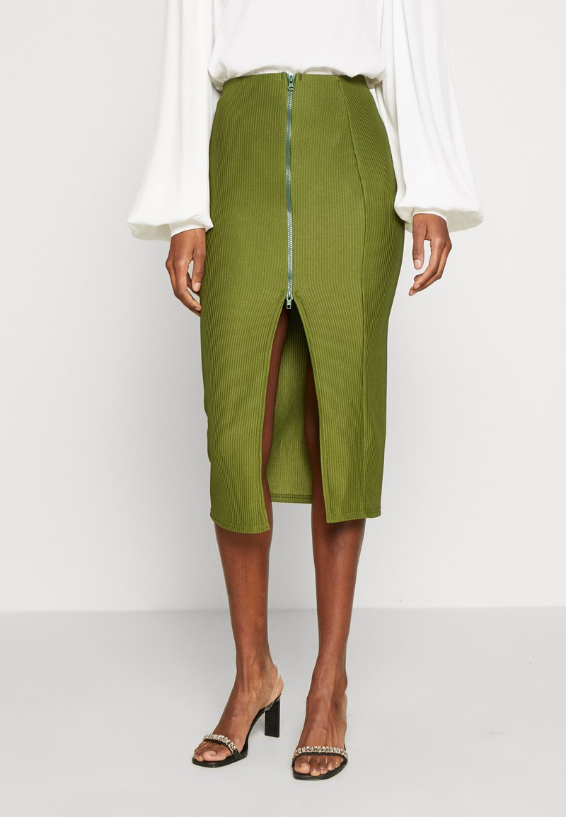 Missguided Tall - ZIP MIDI SKIRT - Blyantnederdel / pencil skirts - khaki