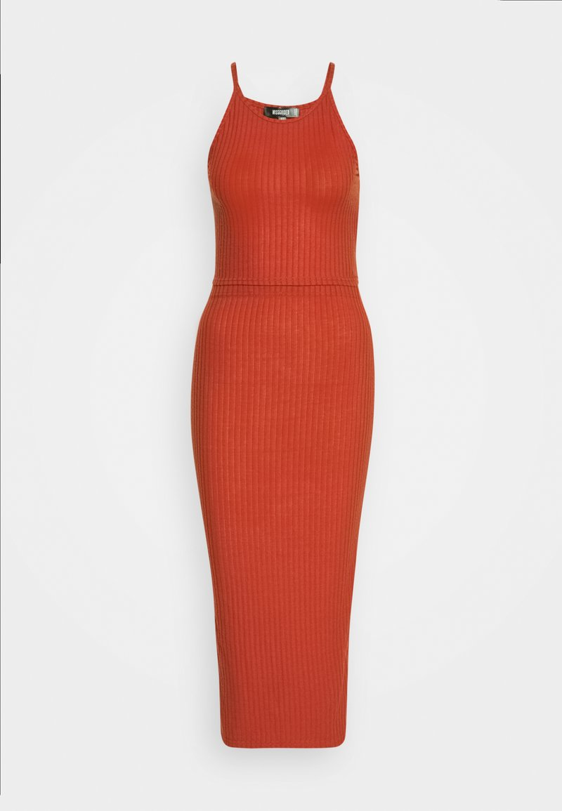 Missguided - RACER NECK CROP AND MIDI SKIRT SET - Pencil skirt - red