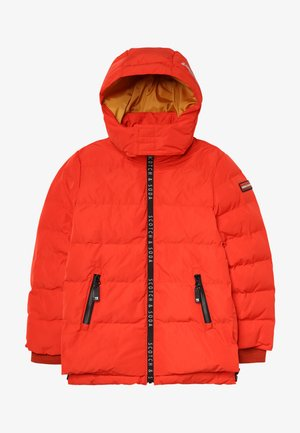 JACKET WITH PRINTED ZIPPERS AND DETACHABLE HOOD - Winter jacket - burnt orange