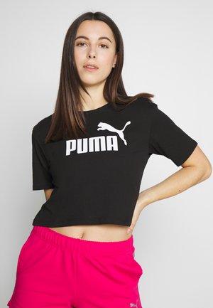 CROPPED LOGO TEE - Print T-shirt - cotton black