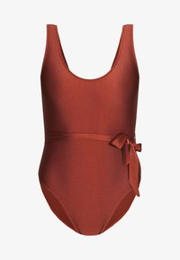 Missguided - SCOOP BACK SWIMSUIT WITH SELF BELT - Costume da bagno - bronze - 3
