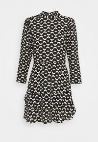 Dorothy Perkins - MINI TIERED HIGH NECK DRESS GEO PRINT - Day dress - black - 0