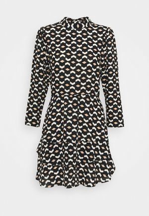 MINI TIERED HIGH NECK DRESS GEO PRINT - Korte jurk - black