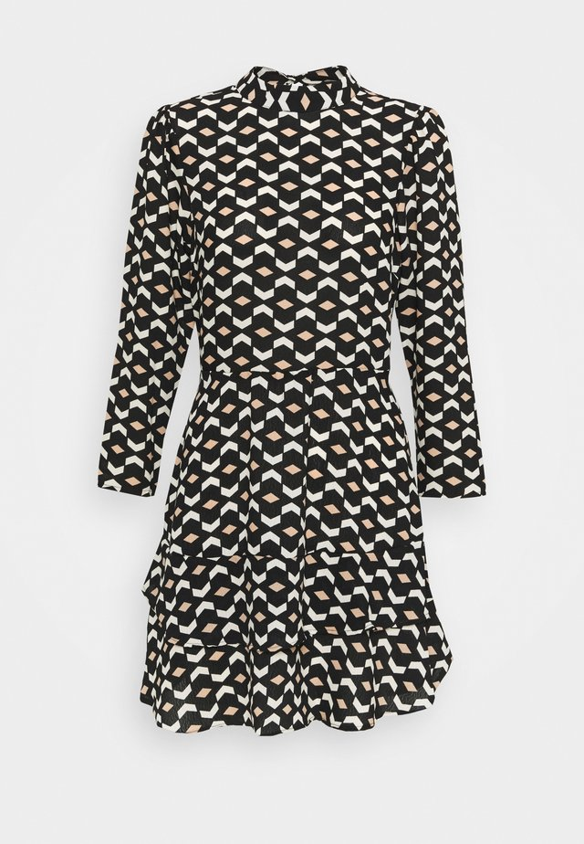 MINI TIERED HIGH NECK DRESS GEO PRINT - Robe d'été - black