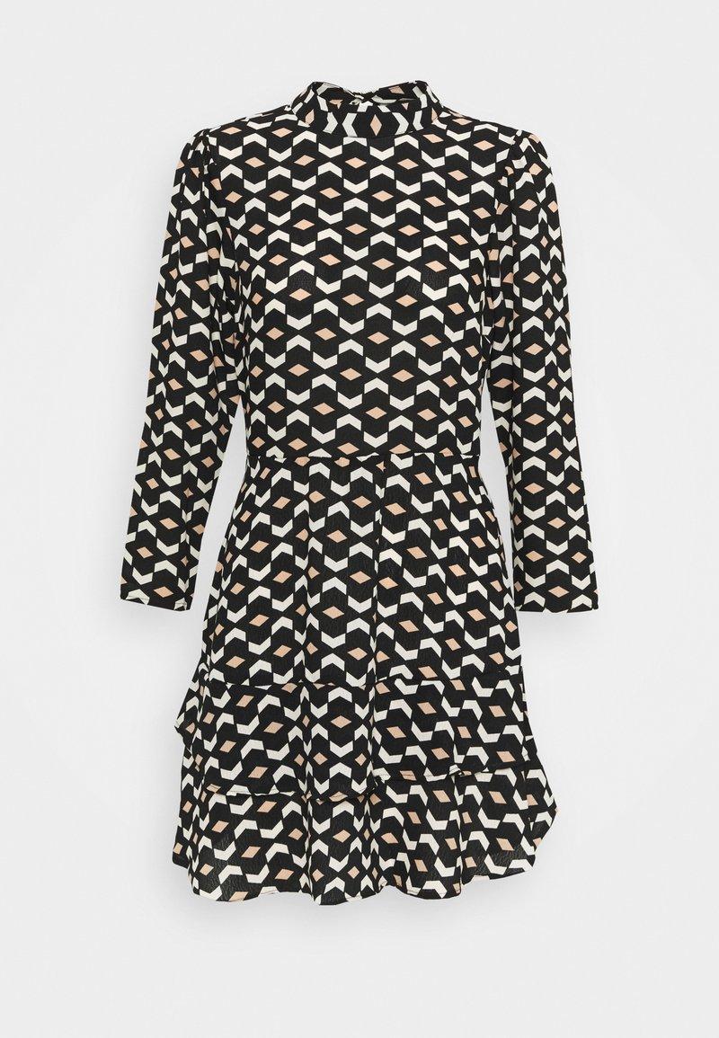 Dorothy Perkins - MINI TIERED HIGH NECK DRESS GEO PRINT - Day dress - black
