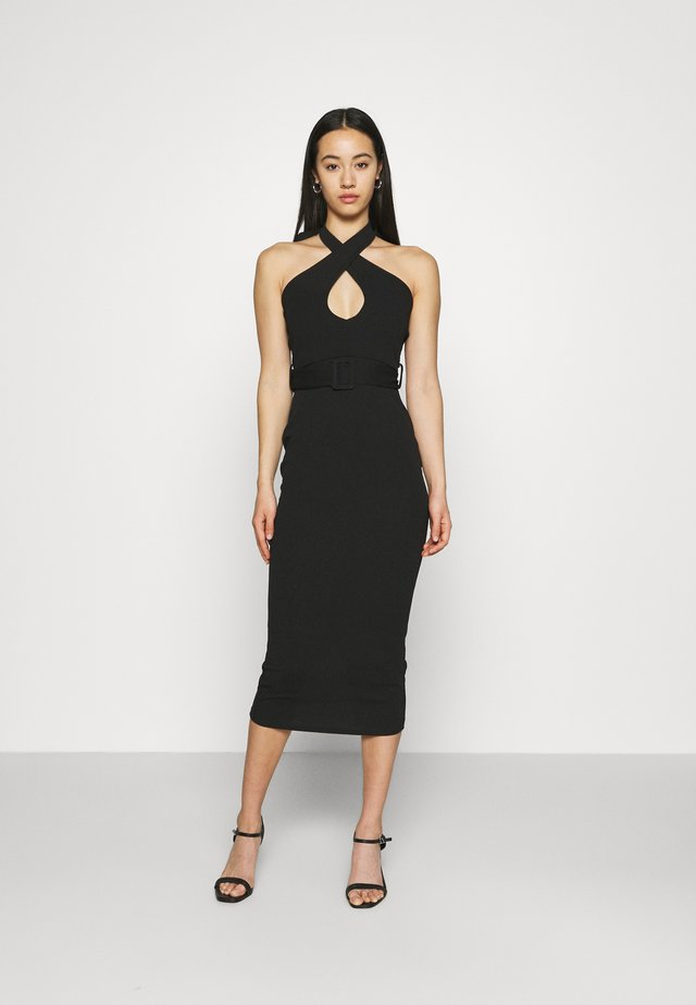 CROSS FRONT BELTED MIDI DRESS - Jersey dress - black