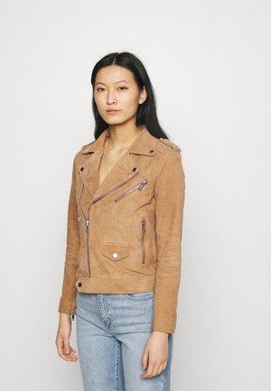 RIVER - Leather jacket - brandy
