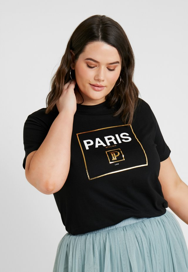 PLUS PLUSPARIS BOX TEE - T-shirt print - black