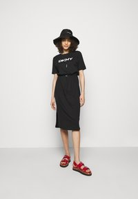 DKNY - LOGO DRAWSTRING - Jersey dress - black - 1