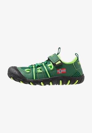 KIDS SANDEFJORD - Walking sandals - dark green/light green