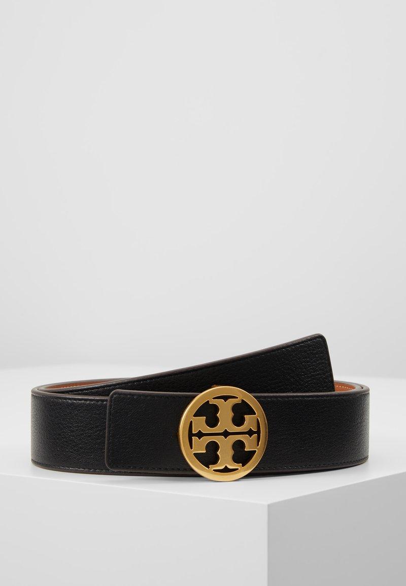 Tory Burch - REVERSIBLE LOGO BELT - Belt - black/gold-coloured