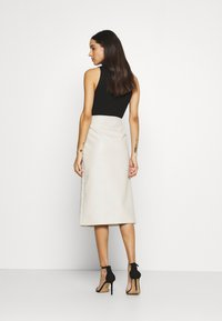 River Island - QUILTED MIDI - A-line skirt - stone - 2