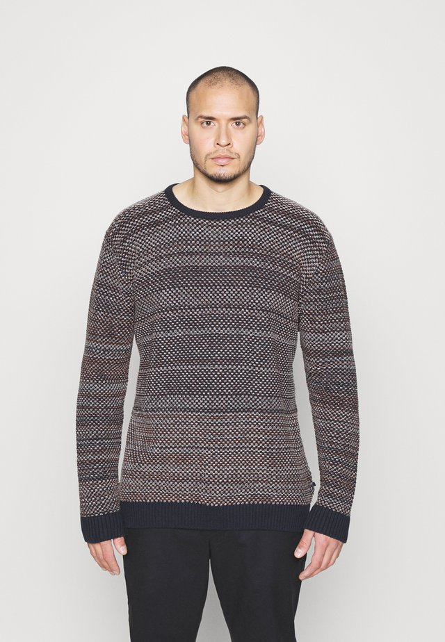 CREW NECK STUCTURE - Pullover - navy
